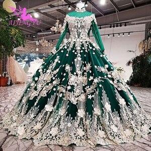 Image 5 - Vestidos de novia AIJINGYU 2021 2020, vestido moderno de lujo con mangas, vestidos de novia de encaje de América a la venta, vestido de boda de compromiso
