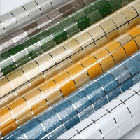 NEW Mosaic Oil Stickers PET Aluminum Wallpaper Foil Plating High Temperature Kitchen Hearth Waterproof Surface Of