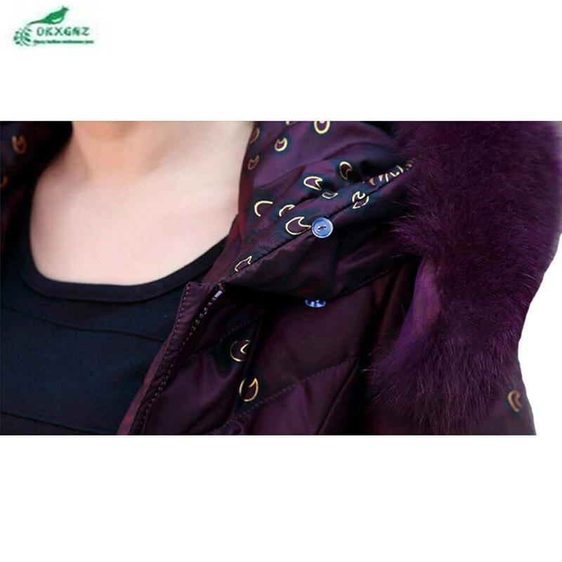 Chaqueta Invierno De Largo Okxgnz Más Medio violet Grande Red Abrigo Pluma Green Algodón Dark Collar Tamaño Nueva Pieles Animales Mujeres Ropa bordeaux FPxW7pwqnq