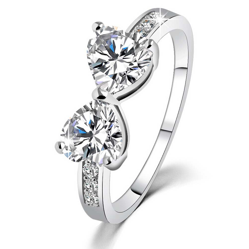 2Hearts Shaped Silver Color Jewelry Ring Antique Rhinestone Crystal Wedding Band Engagement Rings For Women Girls