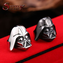 steel soldier Star Wars Darth Vader mask shape ring Jewelry High Quality 316L STAINLESS Steel BR8-202 US size 7-13