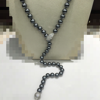 Y Long Shell Pearl Necklace With Leaf Clasp Full of Cubic Zircon Dark Grey Imitation pearl Jewelry Light Grey Light Yellow Gold