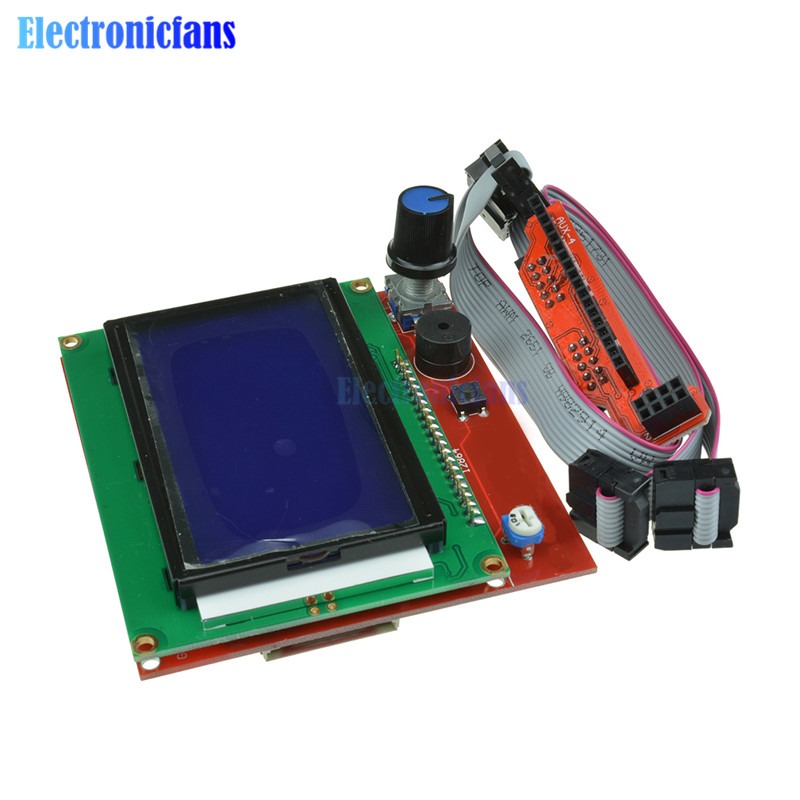 12864 LCD Graphic Smart Display Controller Panel Blue Screen Module With Adapter And Cable For Arduino 3D Printer RAMPS 1.4 Hot