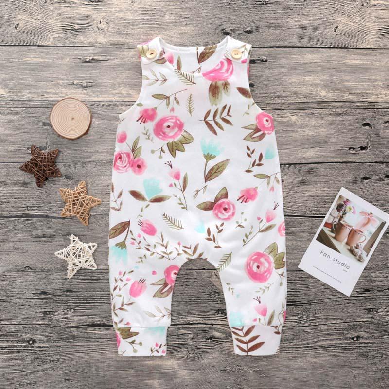 Для малышей для маленьких мальчиков милые цветочные печатных Ползунки детские 100% хлопковая одежда Детские боди комбинезон одежда