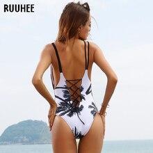 RUUHEE One Piece Swimsuit Swimwear Swimming Suit For Women 2017 Bathing Suit Vintage Beach Push Up Bandage Swim Suit Monokini