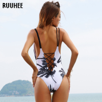 One Piece Swimsuit 2017 Sexy Swimwear Women Bathing Suit Swim Vintage Beach Wear Print Bandage