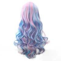 Pelucas de fibra de alta temperatura Soowee 70cm de largo para mujer, peluca de Cosplay de pelo sintético azul Rosado, Peruca