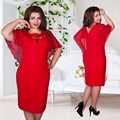 2016 Autumn Vintage Women Hollow Out Cape Red Black Blue Party Dress Short Sleeve Clubwear Beach Dresses Large Size Vestidos