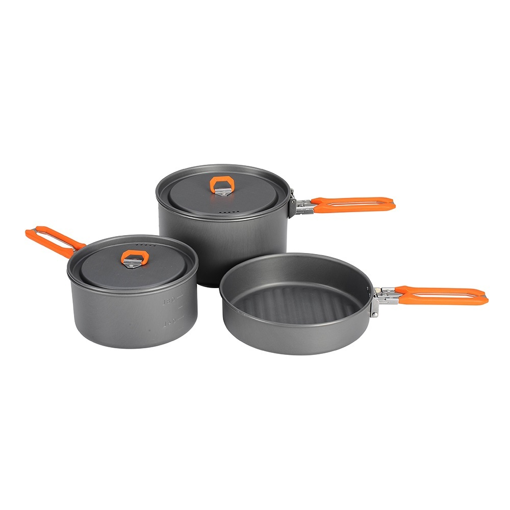 Fire Maple Feast 3 Outdoor Camping Hiking Cookware Backpacking Cooking Picnic Pot Pan Set Foldable Handle 2 Pots 1 Frypan FMC-F3 стоимость