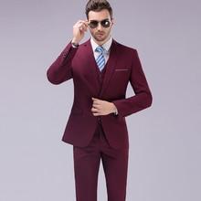 Men's suits three piece blazer suit dress Slim Business occupation dress groom wedding terno masculino (Jackets+ Pants+ Vest)
