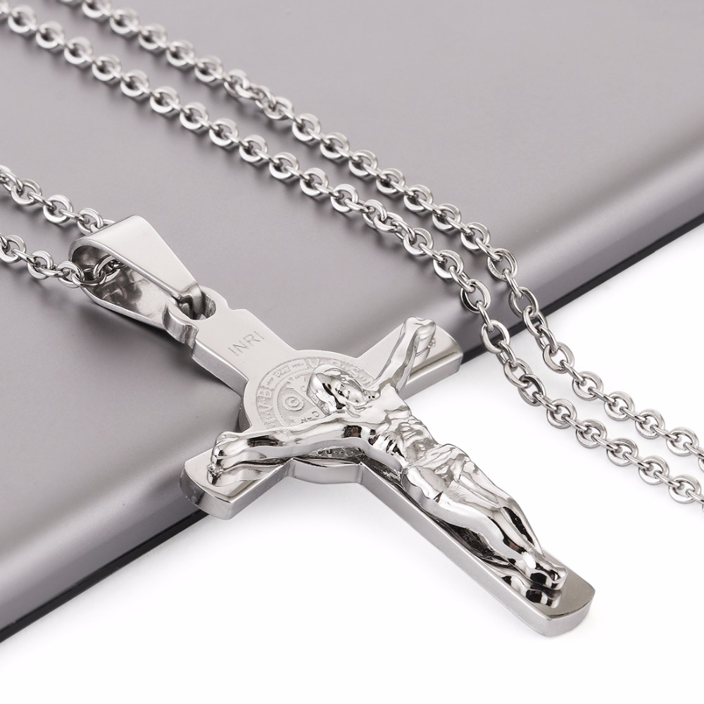 .925 Sterling Silver Antiqued INRI Crucifix Charm Pendant