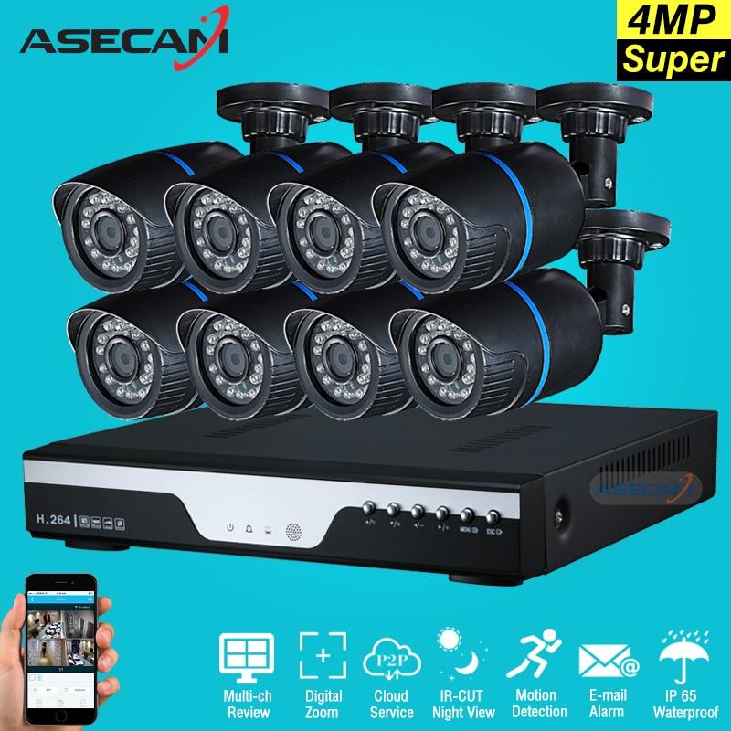 New 8ch HD Surveillance Kit CCTV DVR H 264 Video Recorder AHD indoor Black Bullet 4mp