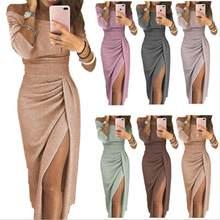 9ad937d0d Split alto vestido de fenda barra pescoço bodycon Lantejoula magro mulheres  longo maxi vestidos de festa roupas femininas plus s.