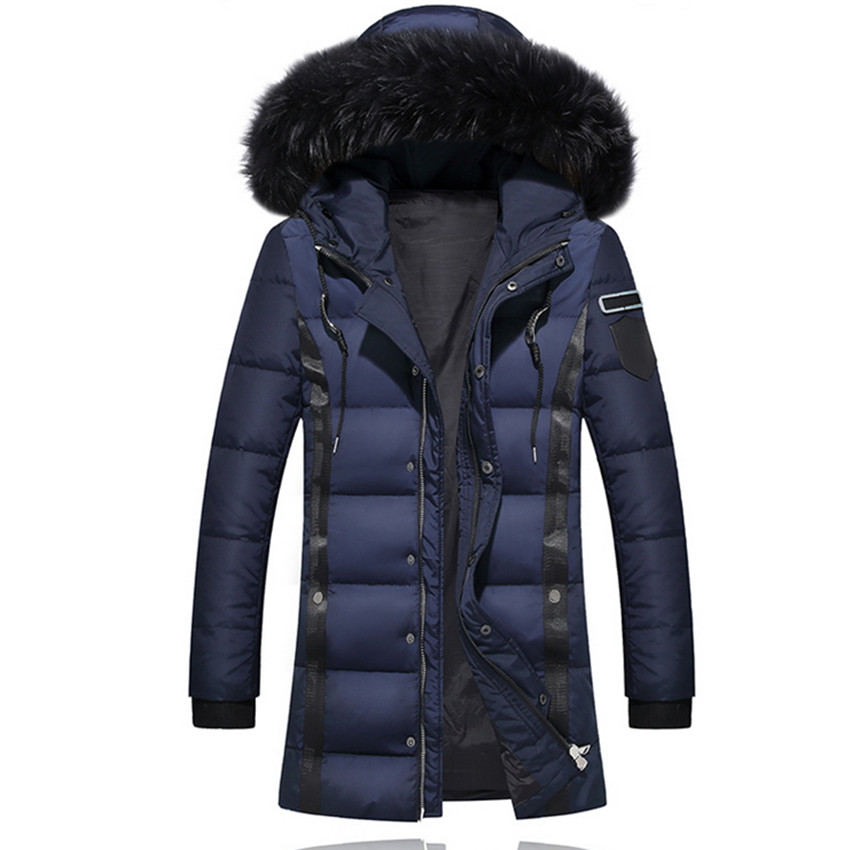 2018 White Duck   Down   Filling Mens   Down     Coat   Size 3XL High Grade Men Winter Hooded Warm Fur Collar   Coats