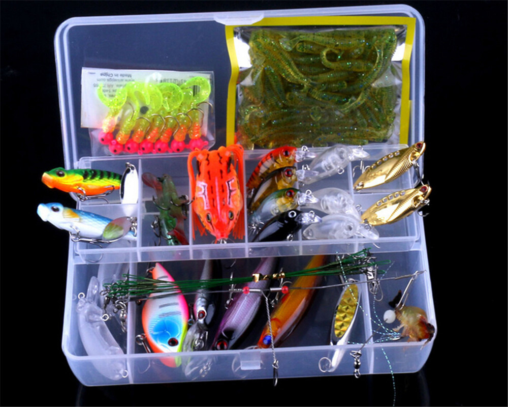 Galeoid lure set freshwater set paillette soft lure frog for Fishing lure kits
