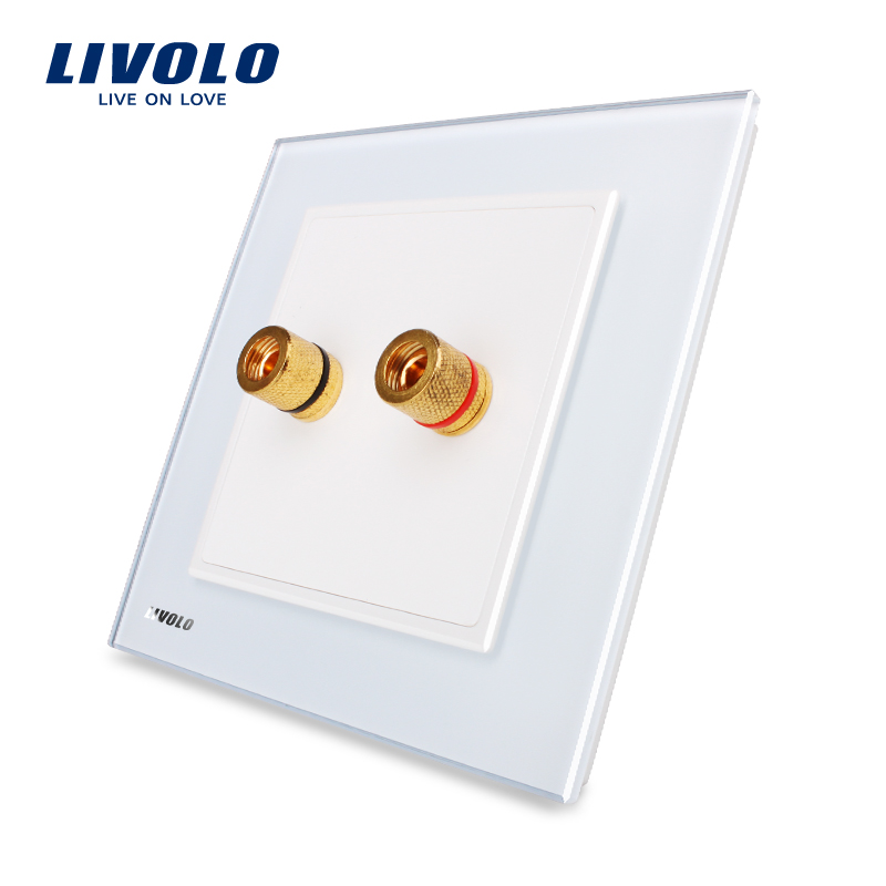 Livolo UK standard New Style White Crystal Glass Panel 1 Gang Home Wall Sound Acoustics Socket