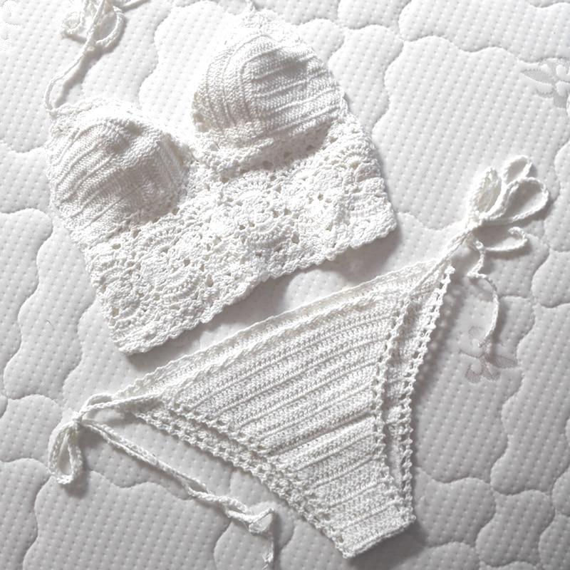 High Quality Women White Bathing Suits 2016 Knitted Bikini Crochet ...