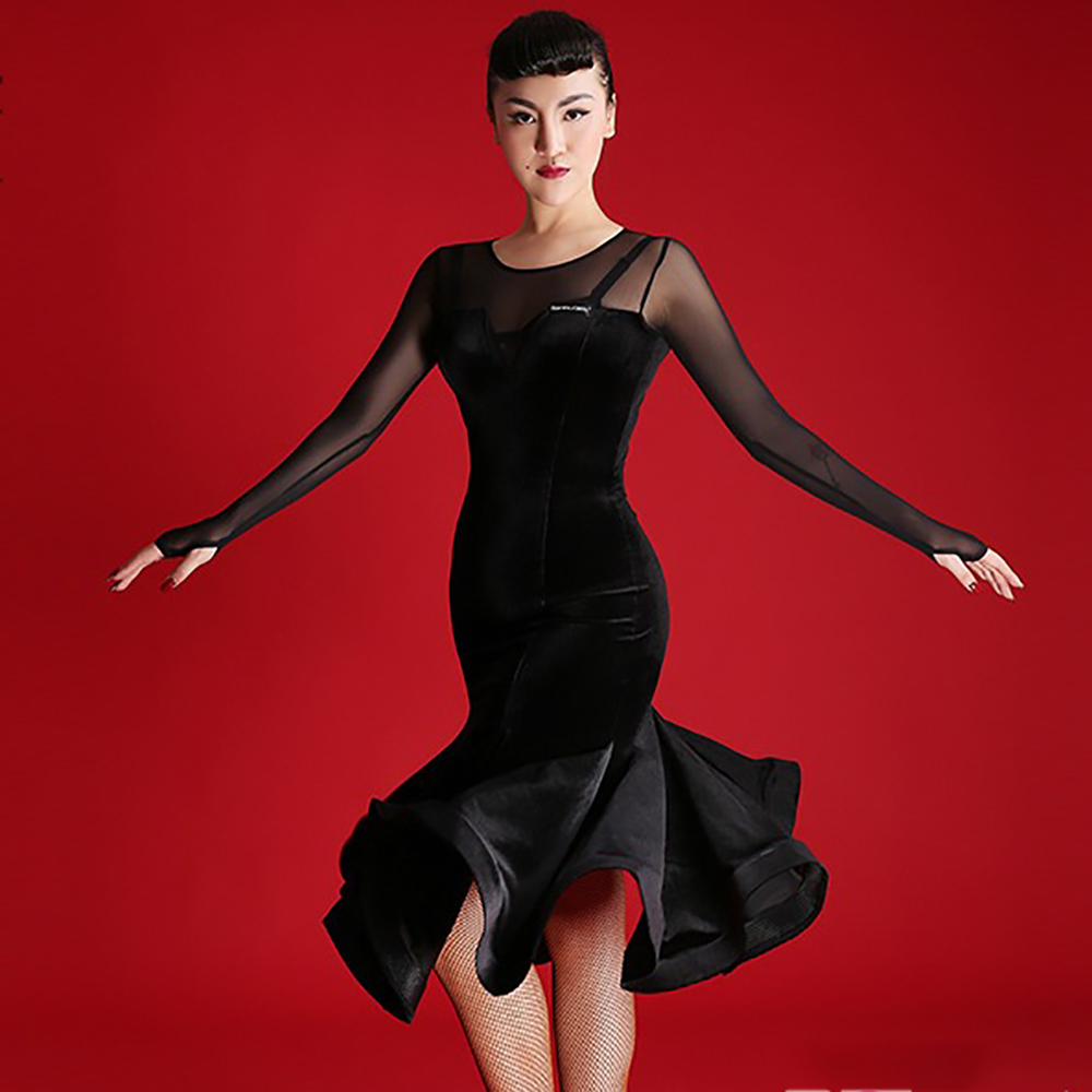 Popular Latin Dance Dress For Woman Black Color S-XL Size Velvet Long Sleeve Skirt Chacha Tango Latino Arena Theatrical Suit B30