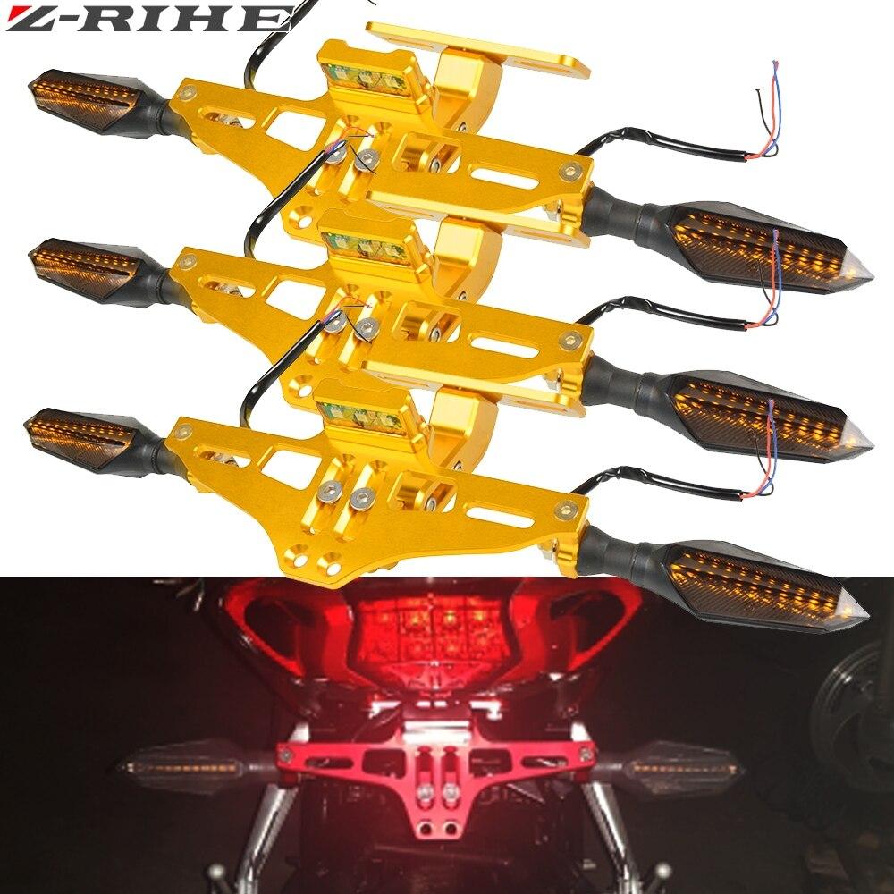 Support universel de support de plaque d'immatriculation réglable d'éliminateur de garde-boue de moto LED pour Honda pour les feux de signalisation de Yamaha Kawasaki