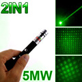 50Pcs/Lot DHL Free Shipping 5mW Green Laser 2in1 Pointer Pen 532nm Mini Stage Beam Light +Star Cap