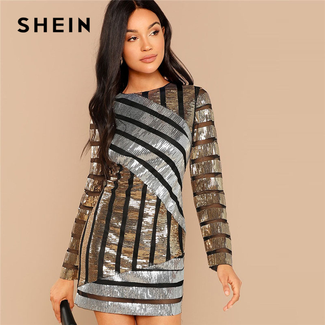 3b6f3cd2fd SHEIN Multicolor Cut and Sew Sequin Textured Dress Party Embroidery Long  Sleeve Zipper Sheath Dresses Women