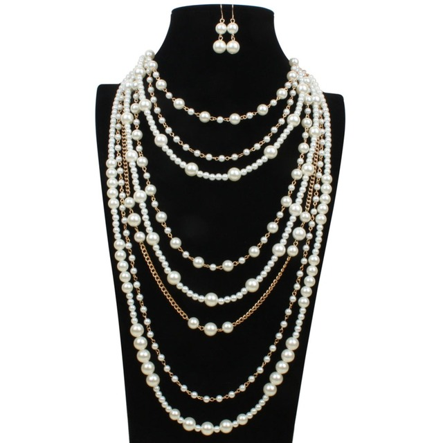 Chain Layered Necklaces for Women 2017 Rose Gold Pearls Jewelry Sets