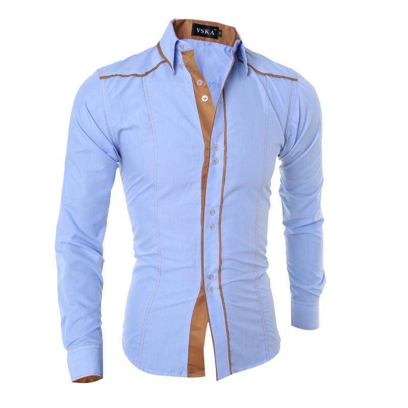 Shirt Luxury Brand Cotton Male Long Sleeve Shirts Solid Multi-Button Hit Color Slim Fit Dress Shirts Mens Shirts Casual Slim Fit
