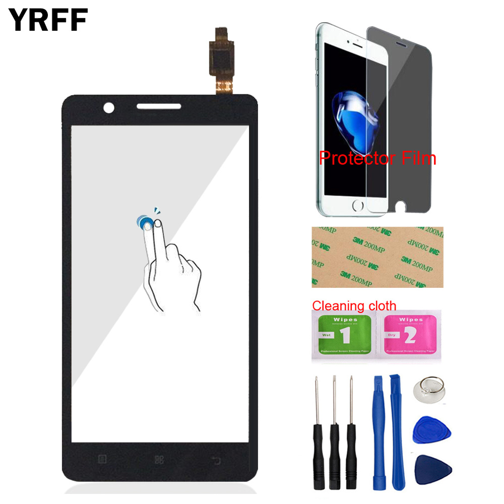 YRFF 5.0'' Phone Front Glass For Lenovo A536 A358 A 536 Touch Screen Touch Digitizer Panel Glass Tools + Protector Film Adhesive