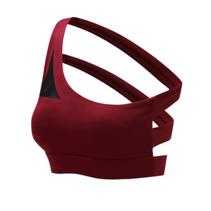 Image 4 - Mermaid Curve 2020 New Oblique One Shoulder Strap Womens Sports Bra Hollow out Back Lines Strenuous Exercise fitness bra Tops