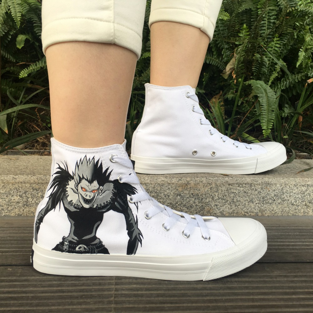 Wen Design Hand Painted Shoes Death Note Anime High Top White Canvas Sneakers Men Women's Skateboarding Shoes