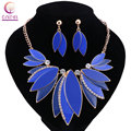 5 colors leaves Women Gold plated boho fashion jewelry sets for party wedding with earrings statement necklace Trendy necklace