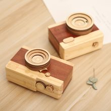 2018 New Music Box Wooden Creative Camera Shape Mini Desktop Decoration Living Room Bedroom Home Decoration Music Box(China)