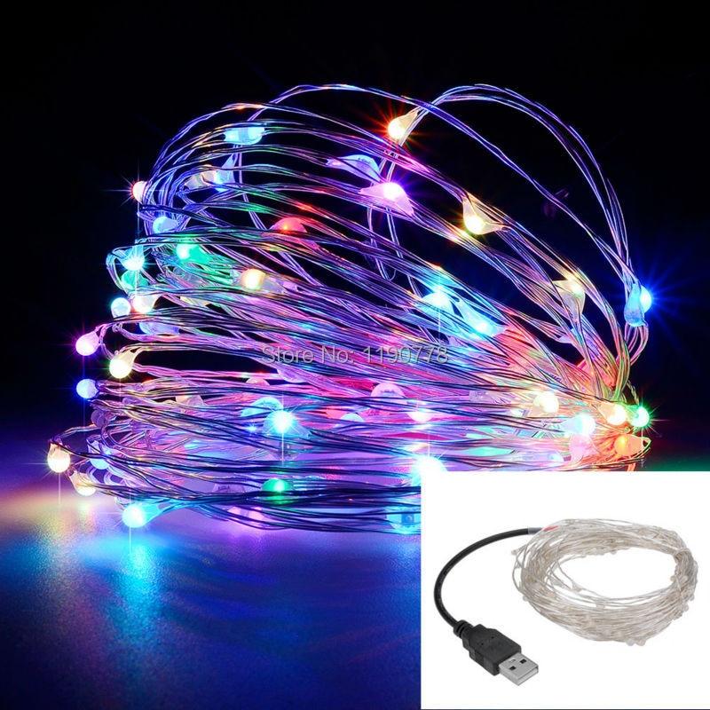led string <font><b>lights</b></font> 10M 33ft 100led 5V USB powered outdoor <font><b>Warm</b></font> <font><b>white</b></font>/RGB copper wire christmas festival wedding party decoration