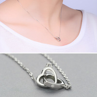 S S925 Silver Necklace Female Korean Version Of Small Fresh Plain Silver Chain Heart Buckle Silver