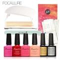 Focallre SUNUV 6w UV LED lamp nail dryer Set 4 Color 7.3ml Soak off Gel Base Coat Top Coat polish Nail Art Tools Sets Kits