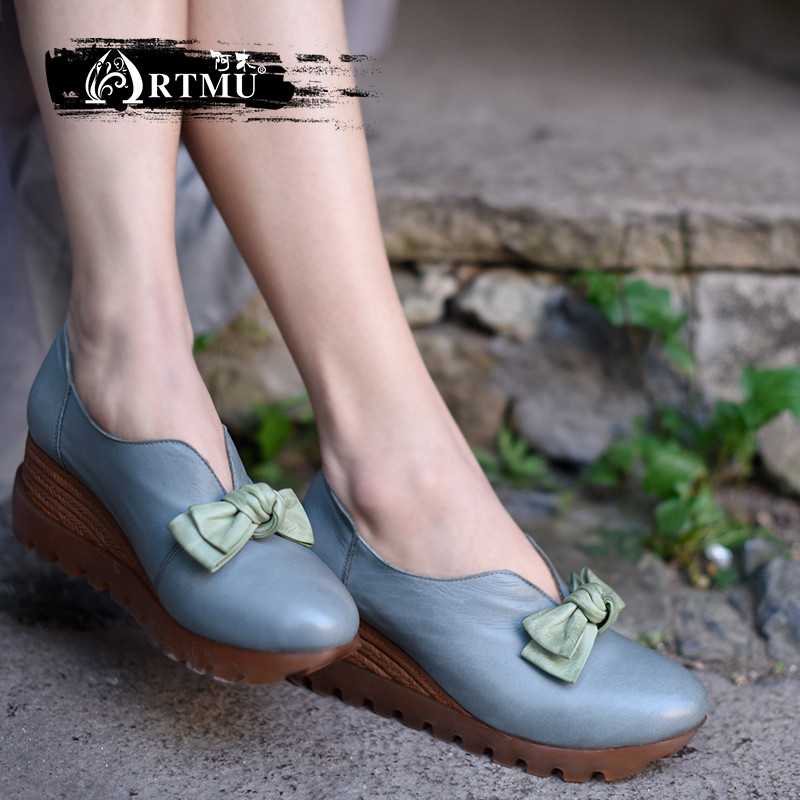 Artmu Original Butterfly-knot Wedges Heels Women Shoes Genuine Leather Handmade Retro Platform Thick Sole Shoes 038-21 artmu original new flower genuine leather shoes thick sole wedges heels handmade retro women shoes 1585