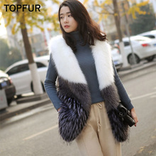 TOPFUR 2018 New Real Fur Vest Women Winter Natural Fox Gilet Luxury Female Fashion Style Waistcoat V-Neck