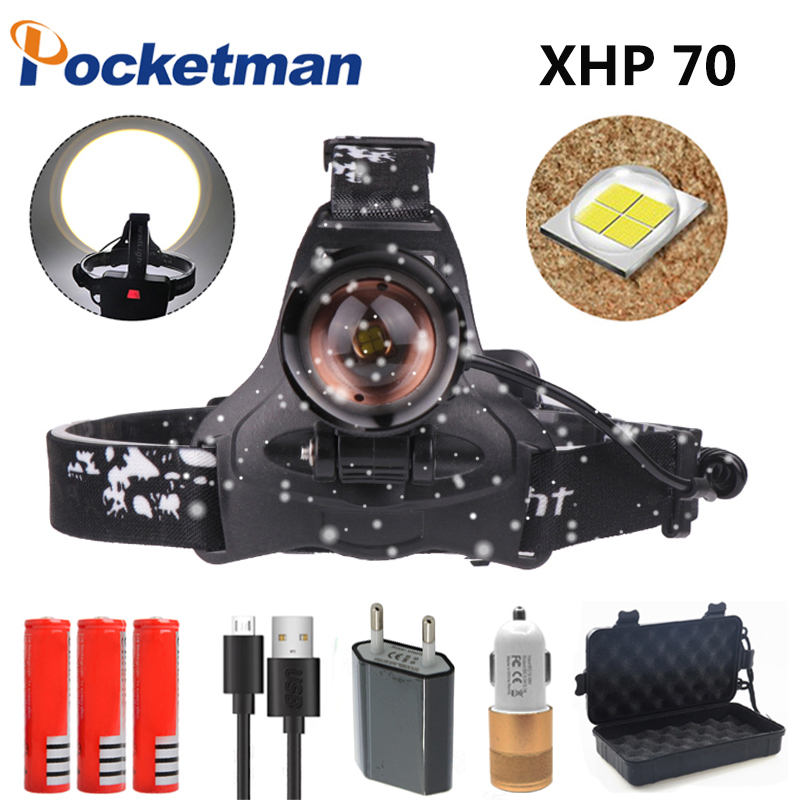 LED Headlight 40000lum Led Headlamp XHP70 Zoom Headlight Torch USB Rechargeable  Head lamp use 3*18650 battery by FishingLED Headlight 40000lum Led Headlamp XHP70 Zoom Headlight Torch USB Rechargeable  Head lamp use 3*18650 battery by Fishing