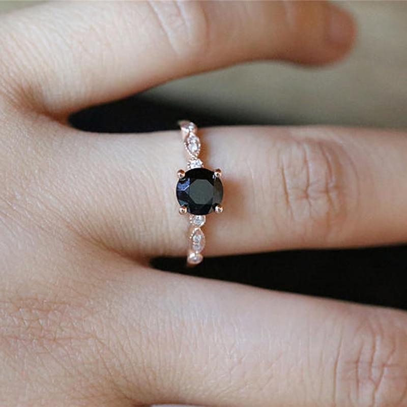 5f87f1fc5170b Black Stone Rings for Women Wedding Engagement Ring Gift Crystal ...