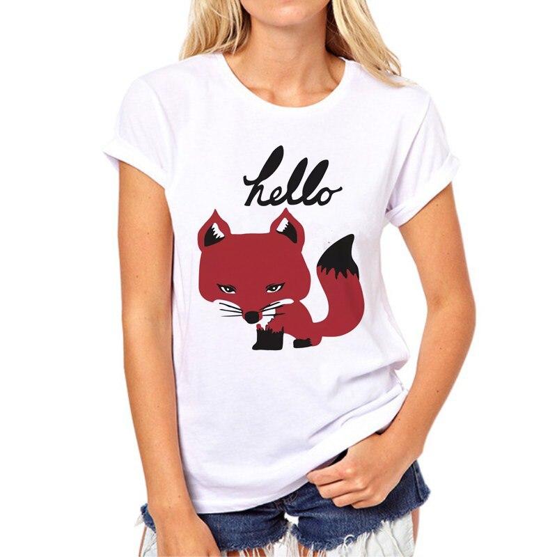 2017 Summer Red Fox T shirt Women Top Casual Animal Tops Cute Fox Print Funny White Cartoon Shirt Femme camisetas N8-6#