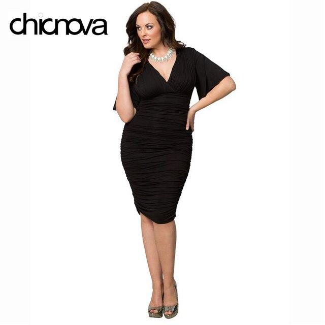 Aliexpress Buy Sexy Plus Size Bodycon Dresses Xxxl Ruched V