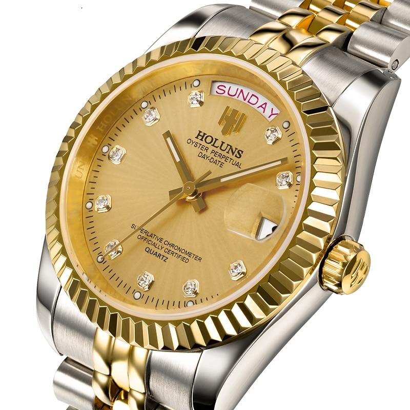 Mens relojes de lujo superior de la marca negocio clásico de cuarzo de oro de acero inoxidable calendario reloj impermeable relogio masculino