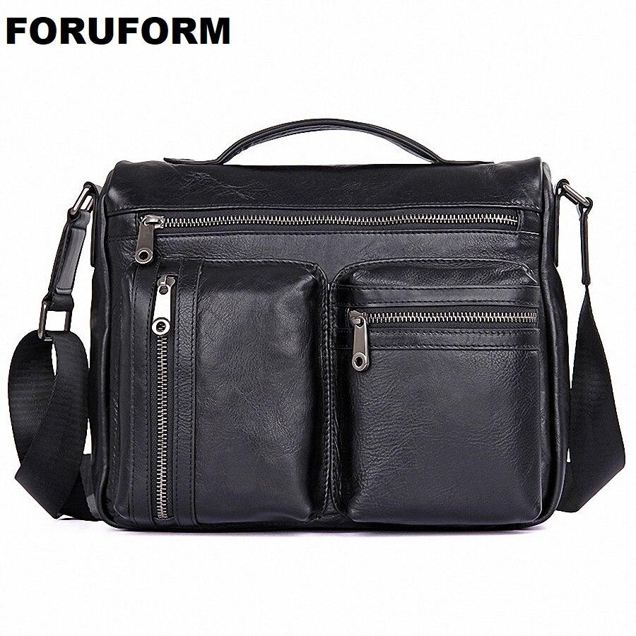 ForUForM Men Fashion Genuine Leather Zipper Shoulder Crossbody Bag Men's Travel Bags Messenger Leather Bag Man Handbag LI-1912