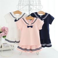 Baby Dresses Sailor Style Dress 2Pc T Shirt Dress Set Baby Girl Marine Costume Short Sleeve Summer Holiday Children Clothes A014