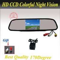 Free Shipping 4.3 Inch TFT LCD Car Rear View Mirror Monitor Parking Rearview Monitor + Night vision Car Reverse Camera