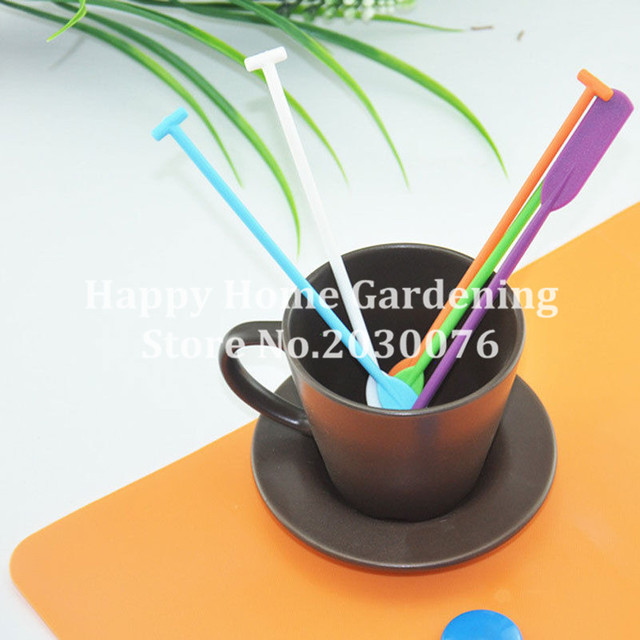 5 Pcs/set Paddle stirring rod shape coffee stirrer juices spoon Bar Cocktail Drink