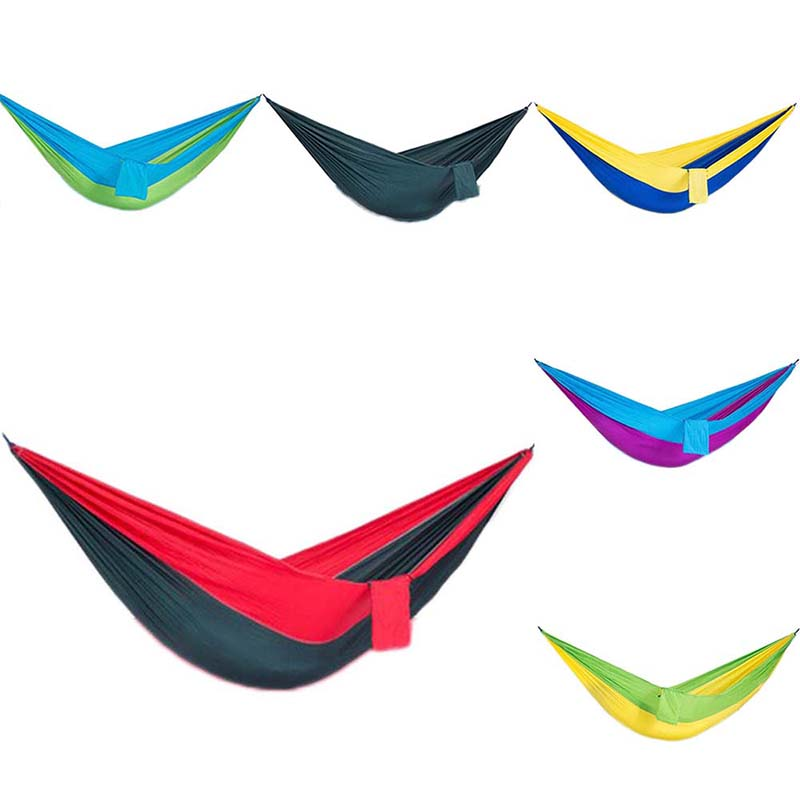 Portable Single Hammock Camping Hammock Parachute Hanging Bed with Mosquito Net to Sleep Folded Outdoor Products 6 Colors furniture size hanging sleeping bed parachute nylon fabric outdoor camping hammocks double person portable hammock swing bed