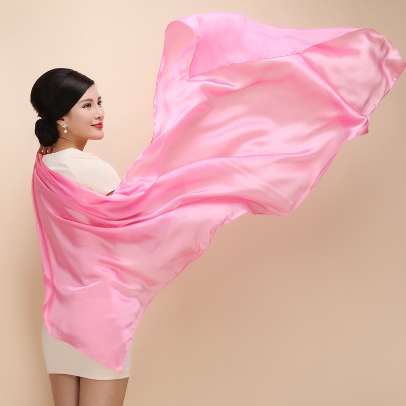 2019 new brand Long size Solid Color Pure Silk Scarf Women Echarpe Smooth Summer Beach cover ups female shawl Voile Scarves in Women 39 s Scarves from Apparel Accessories