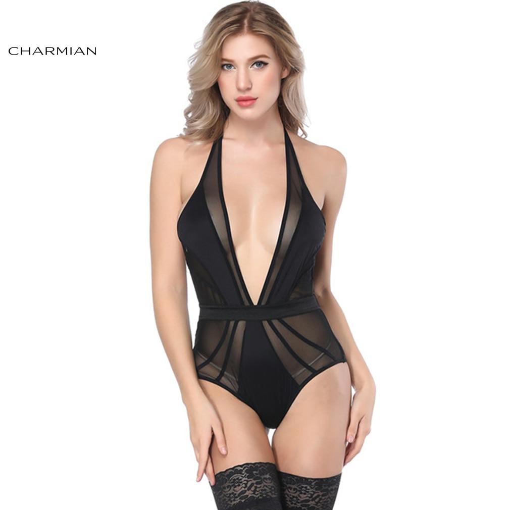 Charmian Women's Sexy Black Deep V Bodysuit Teddy Sheer Mesh Lingerie Sexy Hot Erotic Stretch Skinny Sleepwear Chemises Teddies