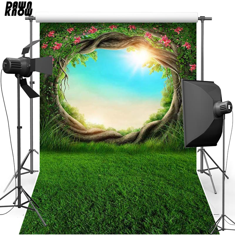 DAWNKNOW Fairy Tale Vinyl Photography Background For Baby Lawn New Fabric Flannel Backdrop For Children photo studio lv128